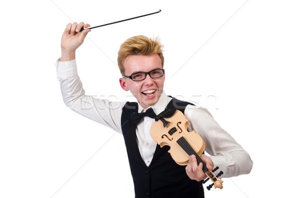 смешные скрипки игрок изолированный белый человека Сток-фото © Elnur
