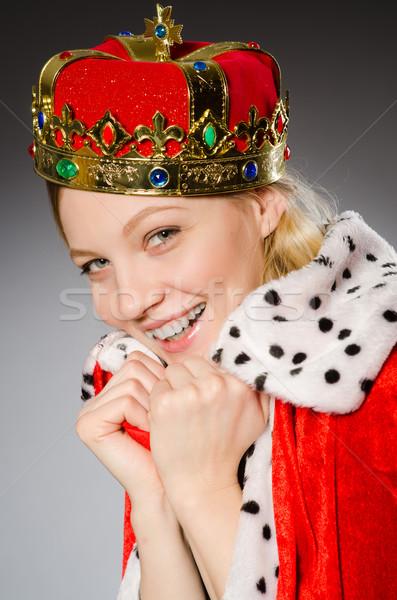 Csinos üzletember korona izolált szürke lány Stock fotó © Elnur