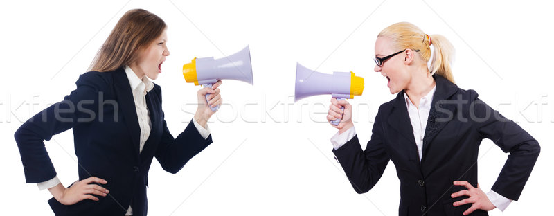 Business women with loudspeakers on white Stock photo © Elnur