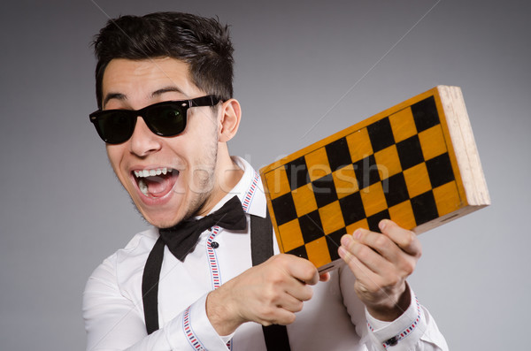 Funny chess player with board Stock photo © Elnur