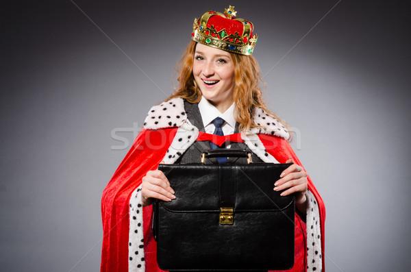 Stockfoto: Vrouw · koningin · zakenvrouw · grappig · werk · zakenman