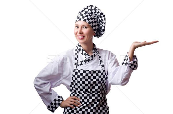женщины повар равномерный изолированный белый кухне Сток-фото © Elnur