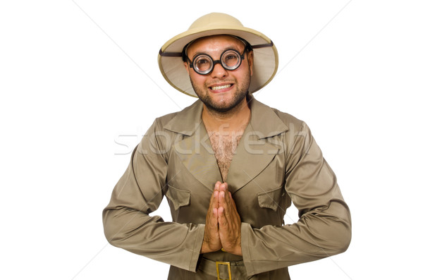 Funny safari traveller isolated on white Stock photo © Elnur
