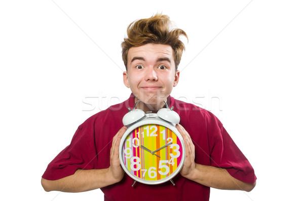 Student holding alarm clock isolated on white Stock photo © Elnur