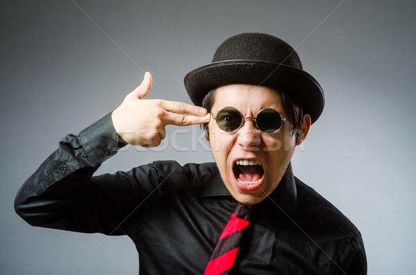 Funny hombre vintage sombrero negocios cara Foto stock © Elnur
