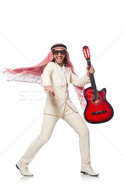 Stock fotó: Arab · férfi · gitár · fehér · buli · háttér