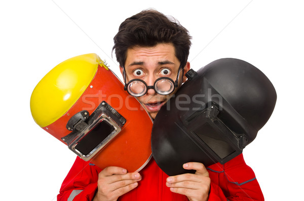 Stock photo: Funny welder isolated on white