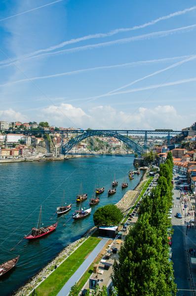 ストックフォト: 橋 · ポルトガル · 空 · 金属 · 夏 · 旅行