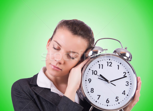 Femme géant horloge blanche bureau travaux Photo stock © Elnur