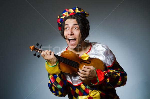 Engraçado violino palhaço jogador musical música Foto stock © Elnur