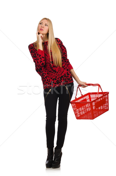 Woman with shopping basket isolated on white Stock photo © Elnur
