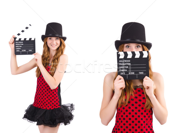 Foto stock: Bastante · menina · vermelho · vestir · filme