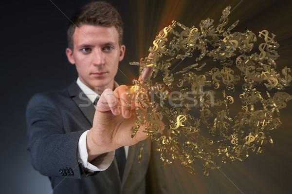 Férfi kisajtolás virtuális gomb dollár üzlet Stock fotó © Elnur