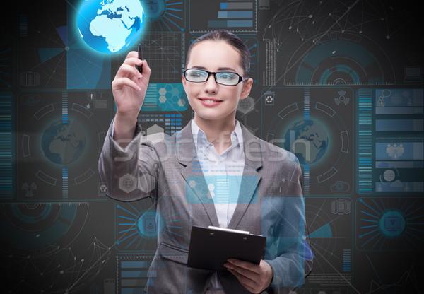 Femme d'affaires données minière affaires ordinateur monde Photo stock © Elnur