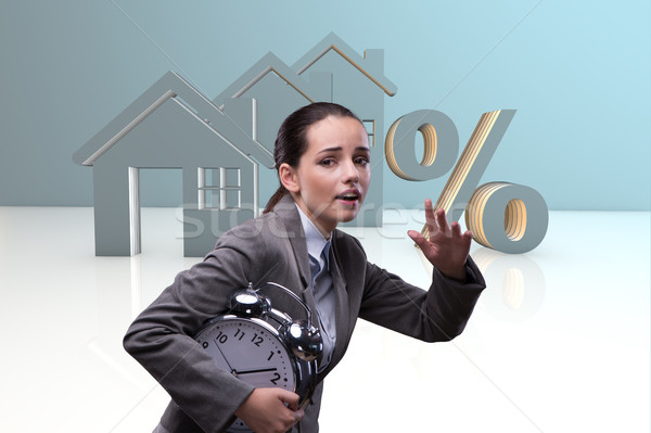 Young woman rushing to get best mortgage rates Stock photo © Elnur