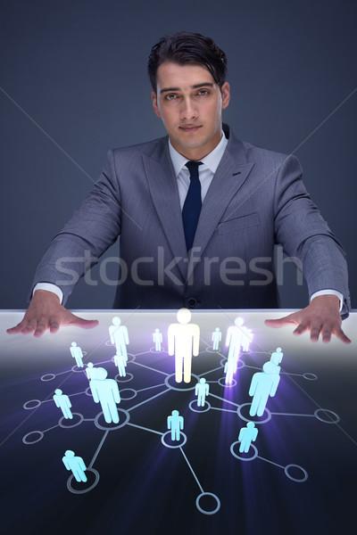 Stok fotoğraf: Işadamı · sosyal · ağlar · iş · teknoloji · temas · ağ