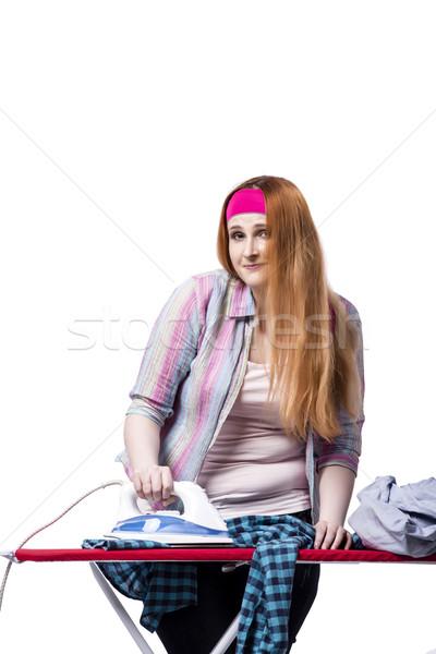 Stock fotó: Fiatal · nő · vasalás · izolált · fehér · munka · szoba