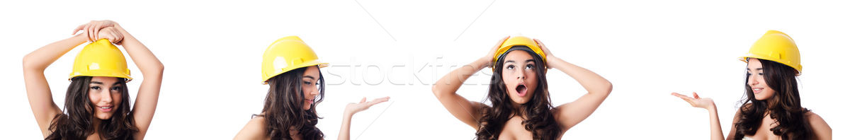 Young woman with yellow hard hat on white Stock photo © Elnur