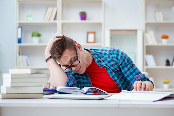 The young teenager preparing for exams studying at a desk indoors Stock photo © Elnur