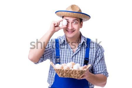 男 麦わら帽子 卵 イースター 家 食品 ストックフォト © Elnur