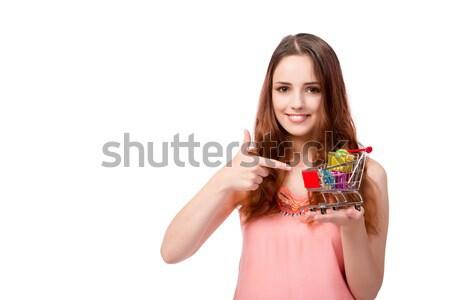 Stockfoto: Jonge · vrouw · winkelwagen · geïsoleerd · witte · winkelen · zwarte