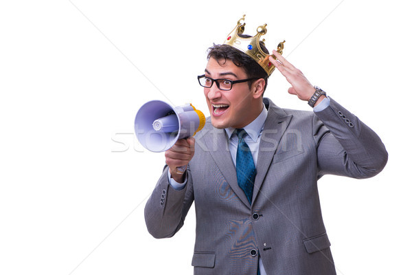The king businessman with a megaphone isolated on white background Stock photo © Elnur