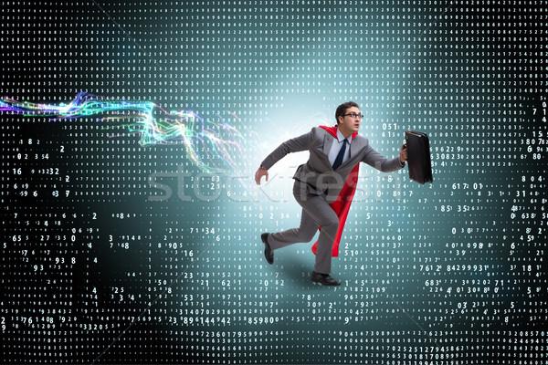 The businessman running towards digital achievements Stock photo © Elnur