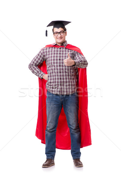 Stock photo: Super hero student graduating wearing mortar board cap isolated