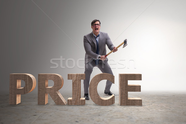 Angry man with axe axing the price word Stock photo © Elnur