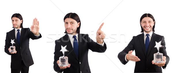 бизнесмен звездой награда изолированный белый человека Сток-фото © Elnur