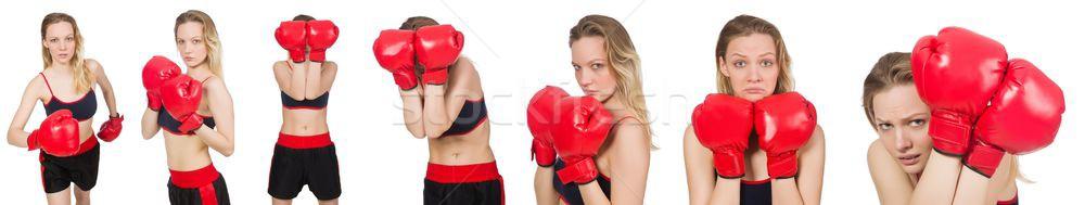 Kobieta bokser biały strony uśmiech twarz Zdjęcia stock © Elnur