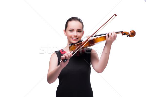 Elegante jovem violino jogador isolado branco Foto stock © Elnur