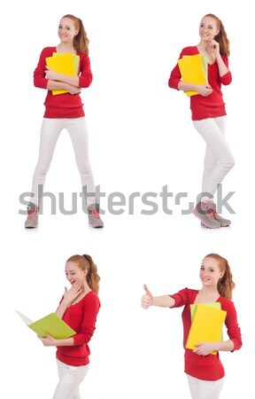 Young beautiful girl in red dress thunms up isolated on white Stock photo © Elnur