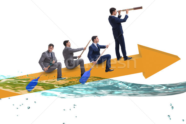 The teamwork concept with businessmen on boat Stock photo © Elnur
