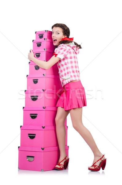Jeune femme stockage cases blanche femme fille Photo stock © Elnur