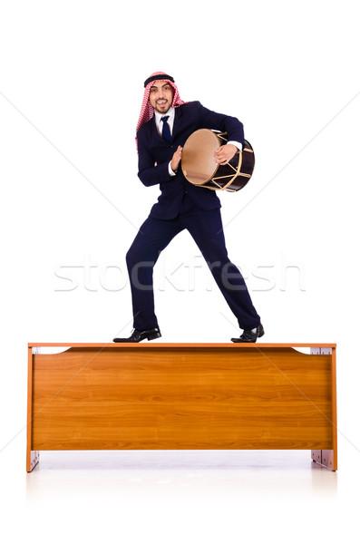Arab imprenditore giocare tamburo desk business Foto d'archivio © Elnur