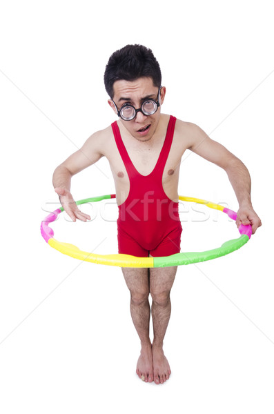 Funny sportsman with hula hoop on white Stock photo © Elnur