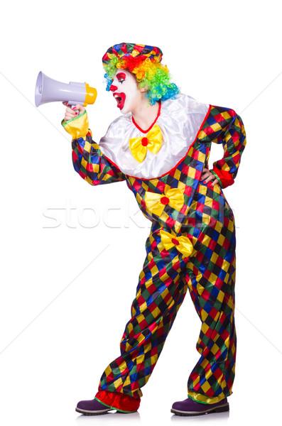 Clown altoparlante bianco sorriso faccia divertimento Foto d'archivio © Elnur