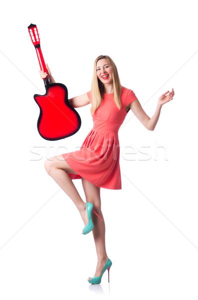 Stock fotó: Női · gitáros · izolált · fehér · zene · buli