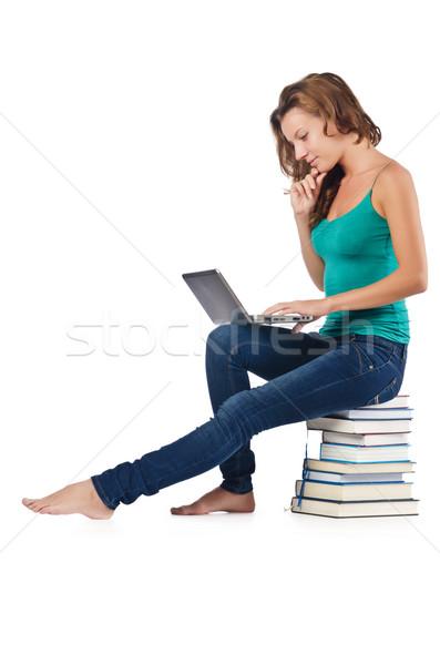 öğrenci netbook'lar oturma kitaplar iş gülümseme Stok fotoğraf © Elnur