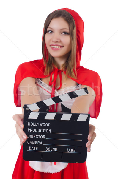 Young girl in red hood  with movie board  isolated on white Stock photo © Elnur