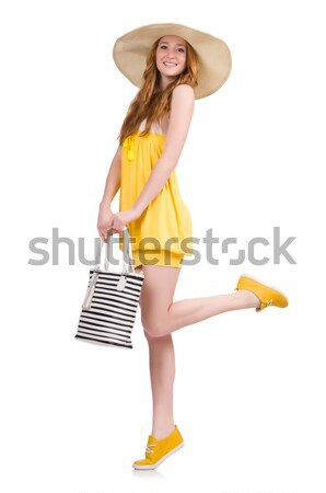 Young girl  with panama in fashion concepts siolated on white Stock photo © Elnur