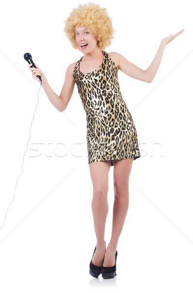 Singer  woman with mic isolated on white Stock photo © Elnur