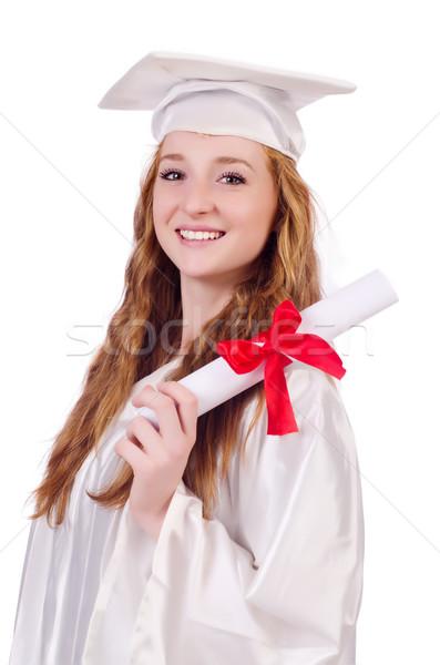 Stock fotó: Diplomás · lány · diploma · izolált · fehér · oktatás