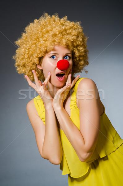 смешные женщину клоуна одевание улыбка лице Сток-фото © Elnur