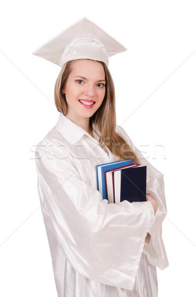 Diplomás lány diploma izolált fehér papír Stock fotó © Elnur