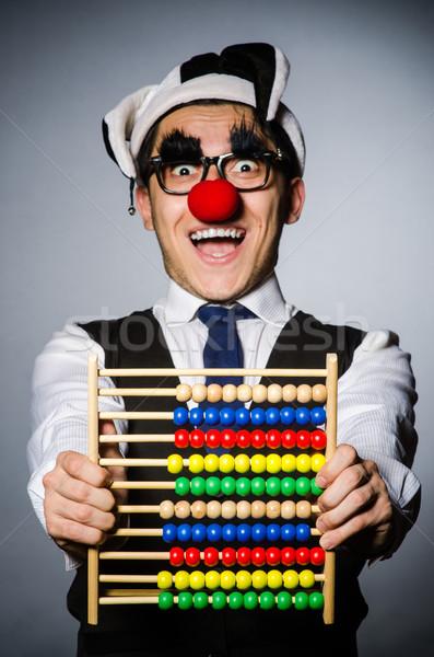 Foto d'archivio: Divertente · clown · abaco · contabili · sorriso · felice