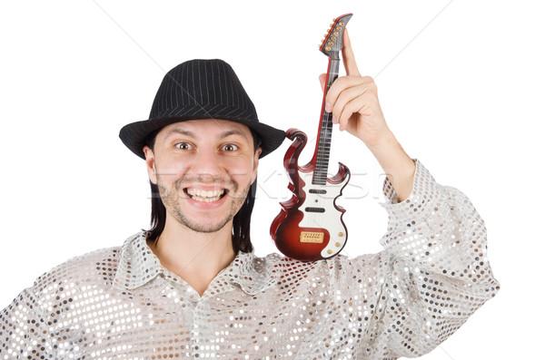 Homem pequeno guitarra engraçado musical música Foto stock © Elnur