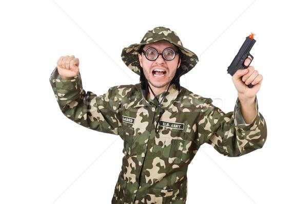 Drôle soldat militaire main homme fond Photo stock © Elnur