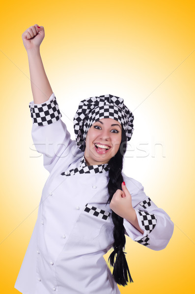 Young cook isolated on the white Stock photo © Elnur